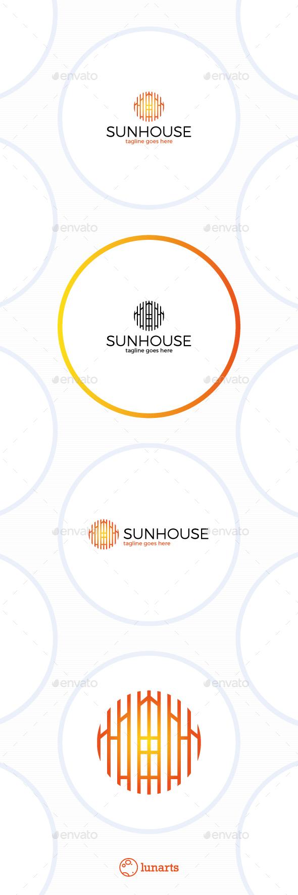 Sun House Logo - Line Circle - Symbols Logo Templates