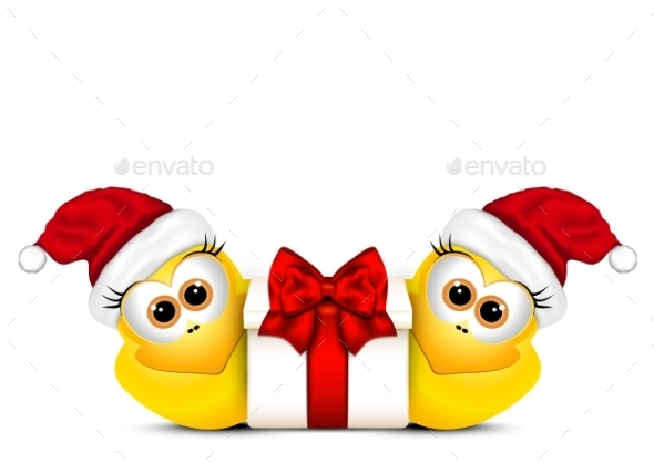 Christmas Card with Chickens in Santa Hat - Christmas Seasons/Holidays