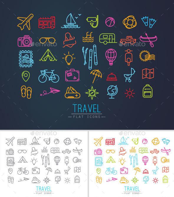 Flat Travel Icons - Seasonal Icons