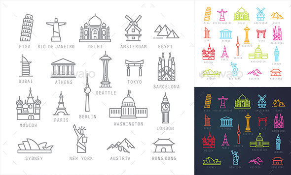 Travel Flat City Icons - Buildings Objects
