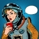 Female Astronaut Drinking Soda - GraphicRiver Item for Sale