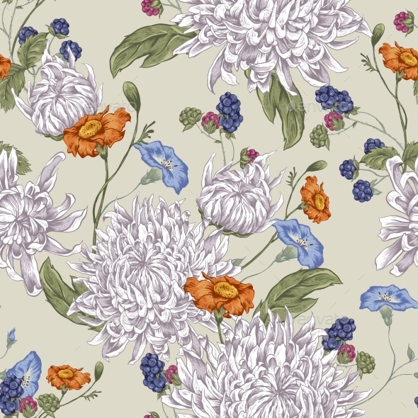 Seamless Background with Chrysanthemums - Patterns Decorative