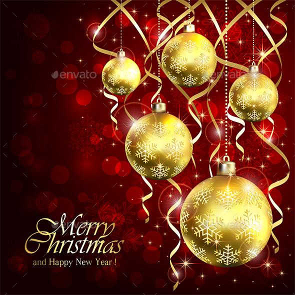 Golden Christmas Balls and Tinsel on Red Backgroun - Christmas Seasons/Holidays