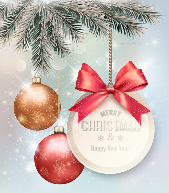 Christmas Background with Colorful Balls - Christmas Seasons/Holidays