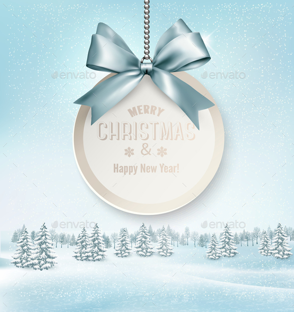 Merry Christmas Card with a Ribbon and Winter - Christmas Seasons/Holidays