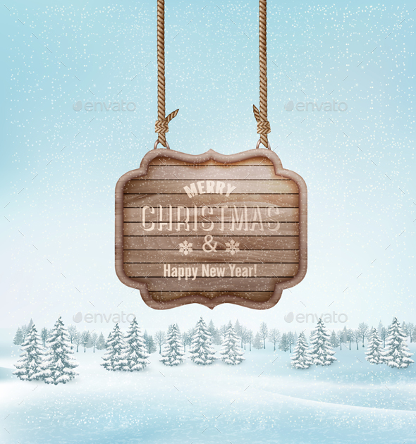 Winter Landscape with a Wooden Sign - Christmas Seasons/Holidays