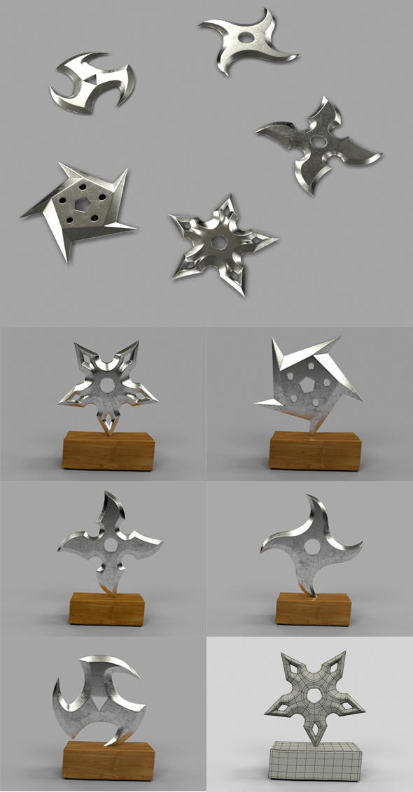 5 Shuriken Set - Throwing Star - 3DOcean Item for Sale