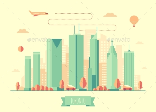 Toronto Skyline Architecture Vector Flat Design - Landscapes Nature
