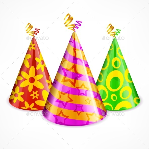 Three Party Hats on White - Birthdays Seasons/Holidays
