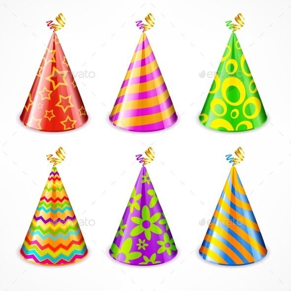 Set of Party Hats on White - Birthdays Seasons/Holidays