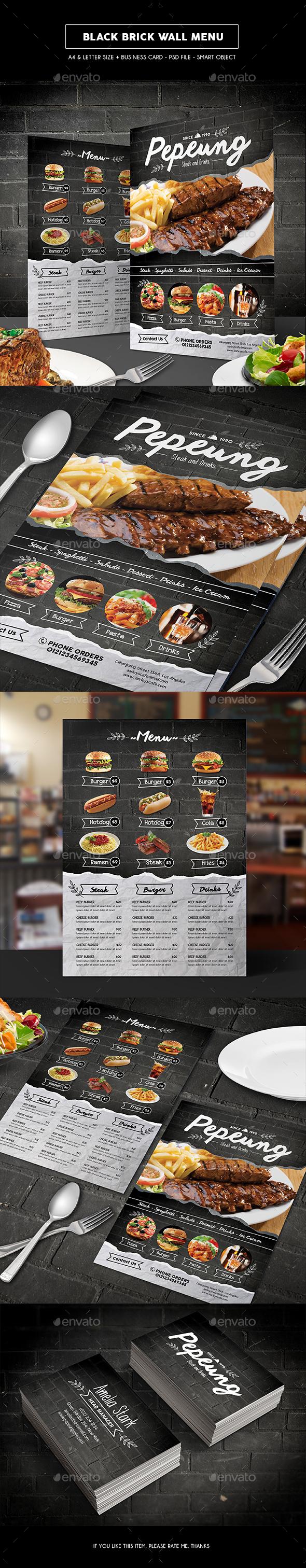 Black Brick Wall Menu - Food Menus Print Templates