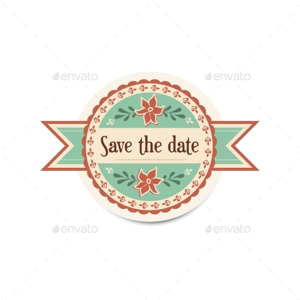 Wedding Retro Badge With Ribbons In Vintage Style - Weddings Seasons/Holidays
