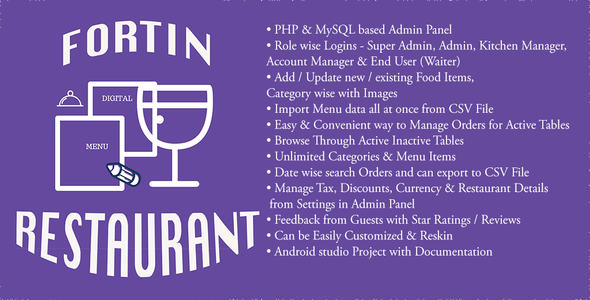 Fortin Restaurant Waiter Ordering System with Admin Panel - CodeCanyon Item for Sale