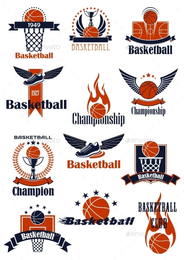 Basketball Championship Or Sporting Club Emblems - Sports/Activity Conceptual