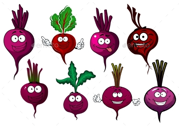 Cartoon Isolated Purple Beet Vegetables - Food Objects