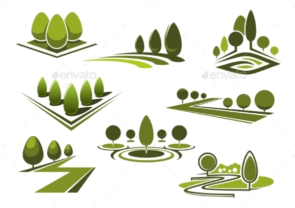 Parks And Gaden Icons With Green Trees - Landscapes Nature