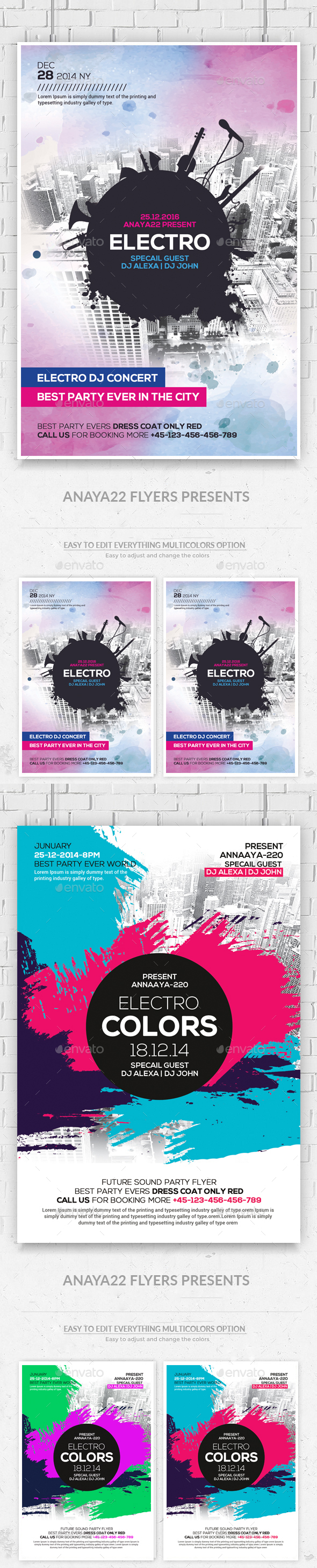 Modern Electro City Flyers Bundle - Clubs & Parties Events