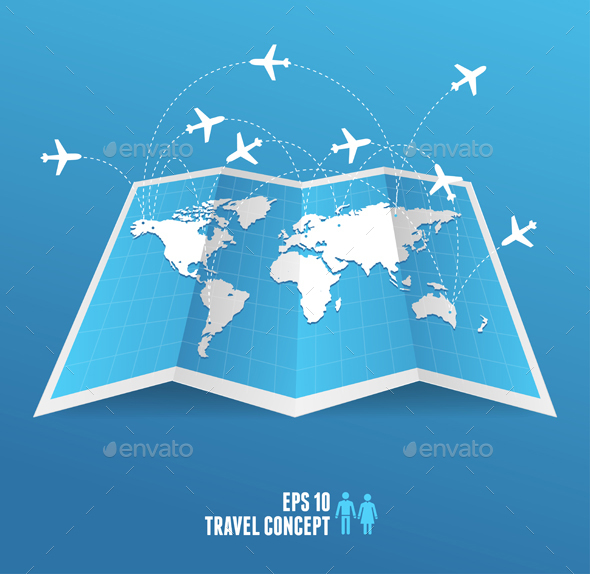 Blue Map Icon and Airplane. Vector - Travel Conceptual