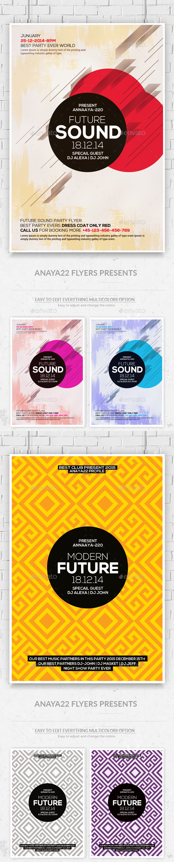 Minimal Abstract Flyers Bundle - Clubs & Parties Events