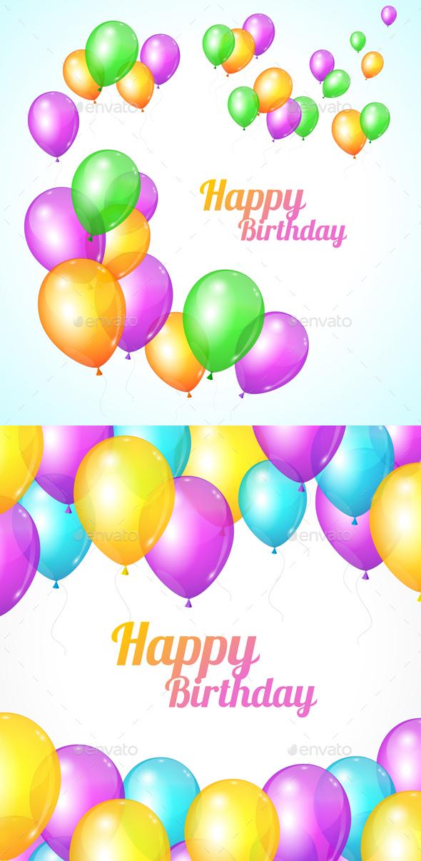 Happy Birthday Card. Balloons Fly - Birthdays Seasons/Holidays