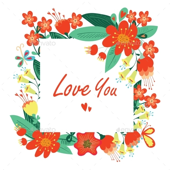 Happy Valentines Day Floral Card. - Valentines Seasons/Holidays