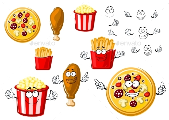 Pizza, Chicken Leg, French Fries And Popcorn - Food Objects