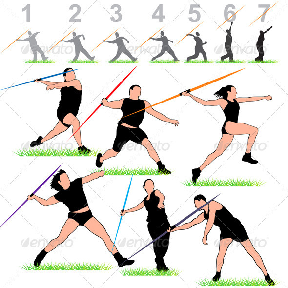 Javeline Athletes Set - Sports/Activity Conceptual