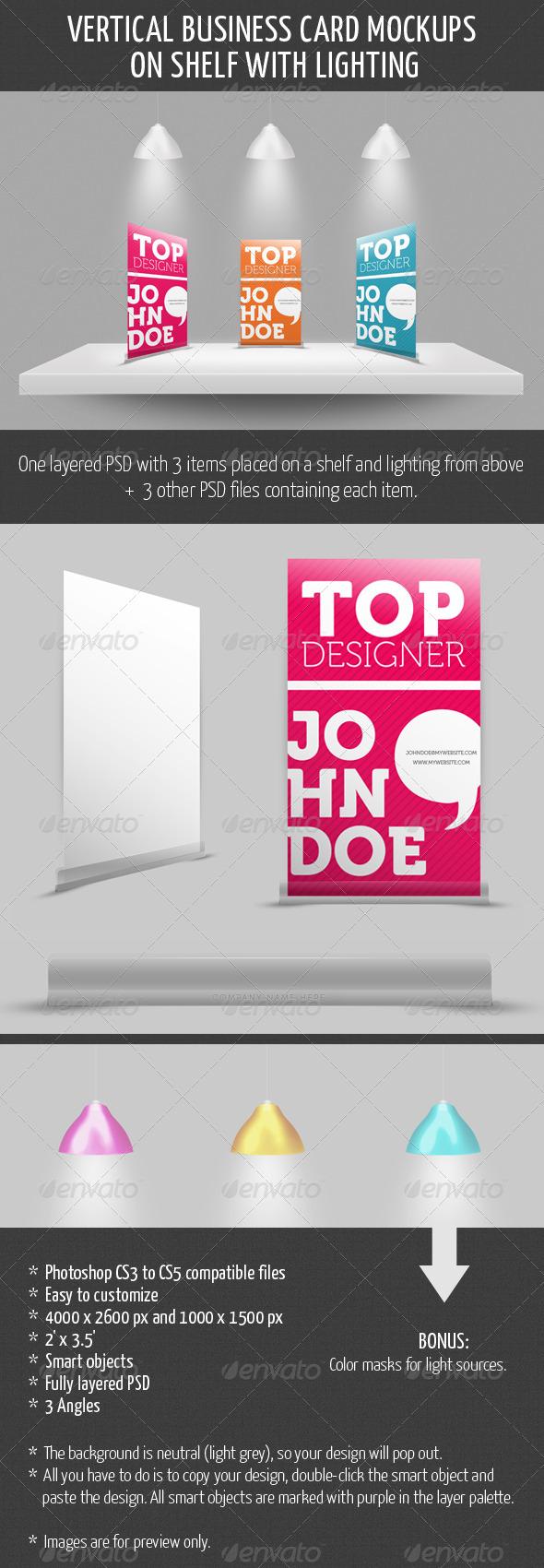 Vertical Business Card Mockup on Shelf - Business Cards Print