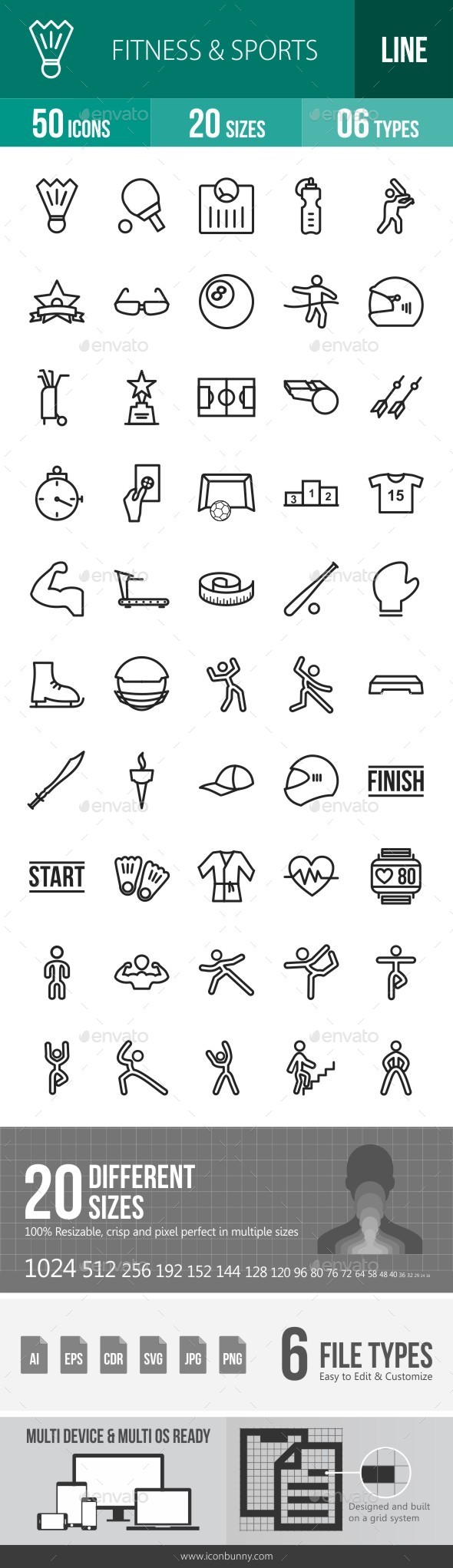 Fitness & Sports Line Icons - Icons