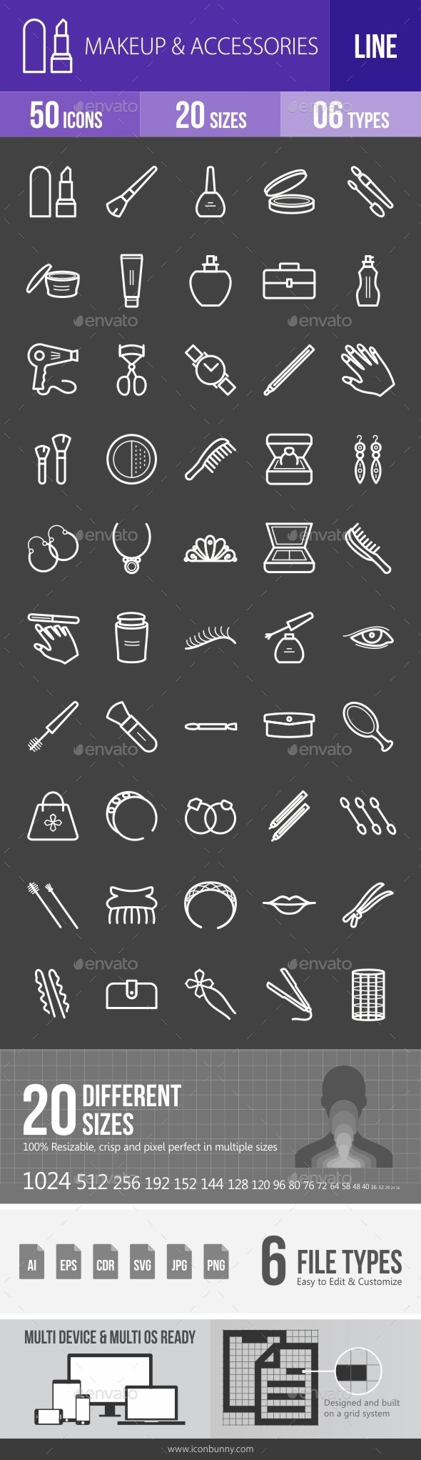 Makeup & Accessories Line Inverted Icons - Icons
