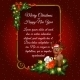 Red Christmas Card With Golden Frame For Your Text