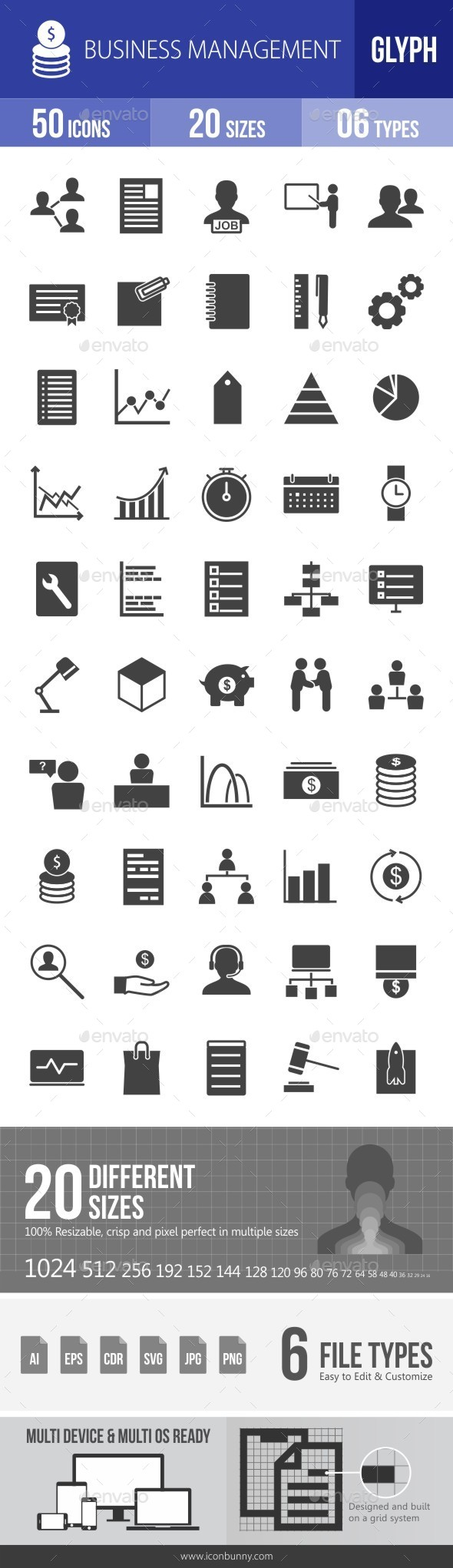 Business Management Glyph Icons - Icons