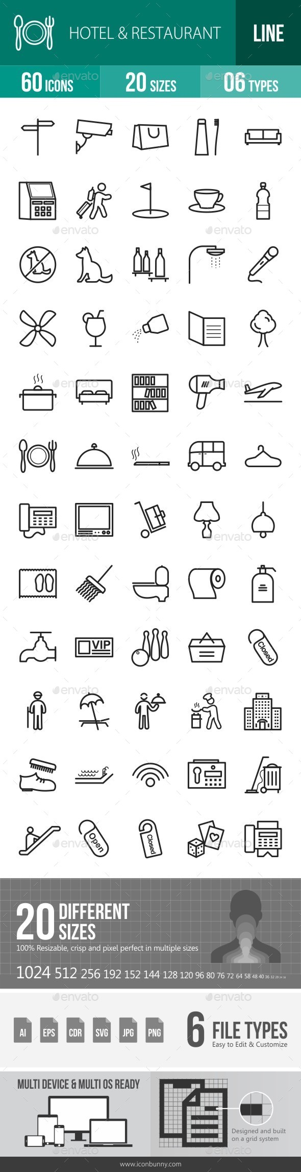 Hotel & Restaurant Line Icons - Icons