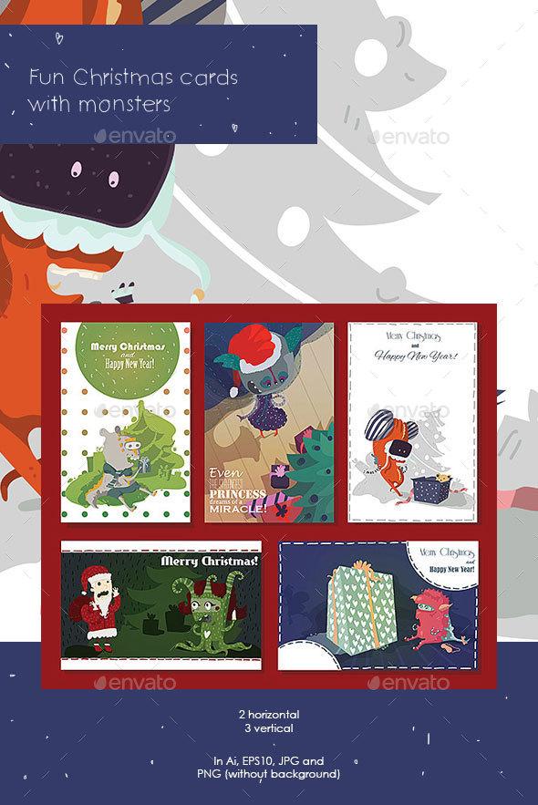 Monsters Christmas Cards - Christmas Seasons/Holidays