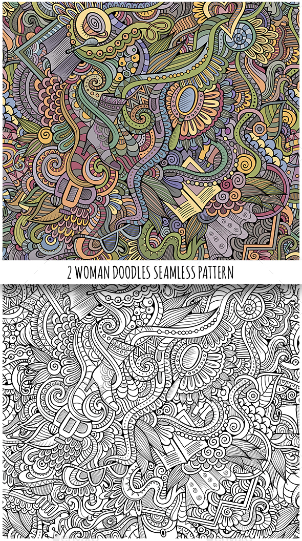 2 Doodles Seamless Fashion Patterns - Commercial / Shopping Conceptual