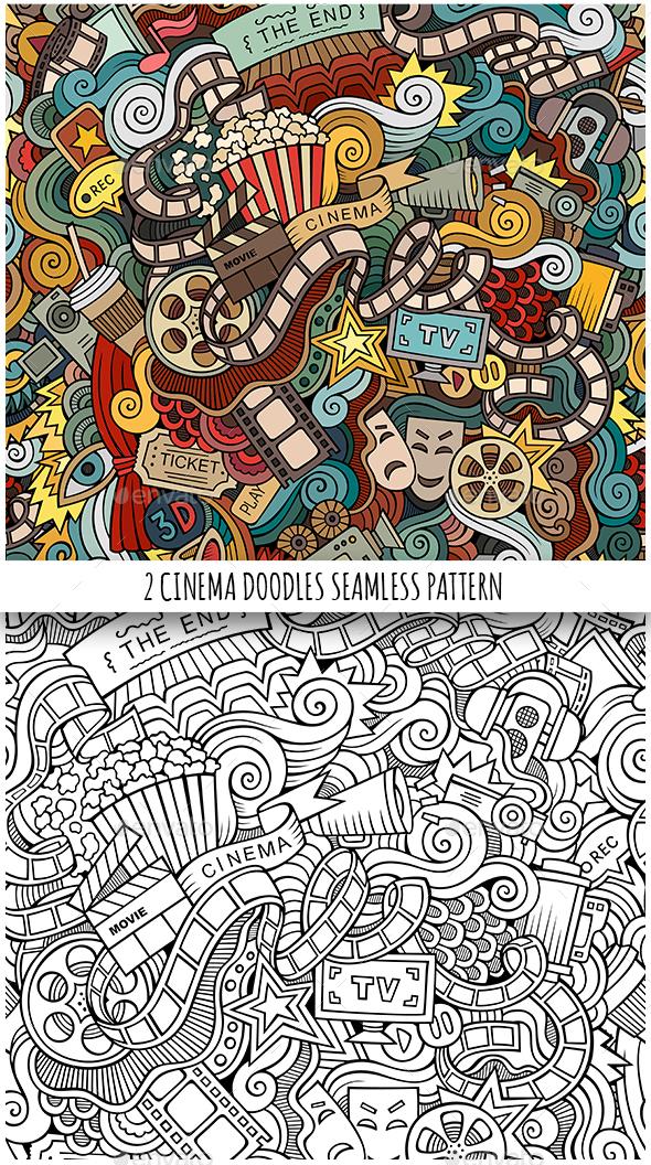 2 Cinema Doodles Seamless Patterns - Media Technology