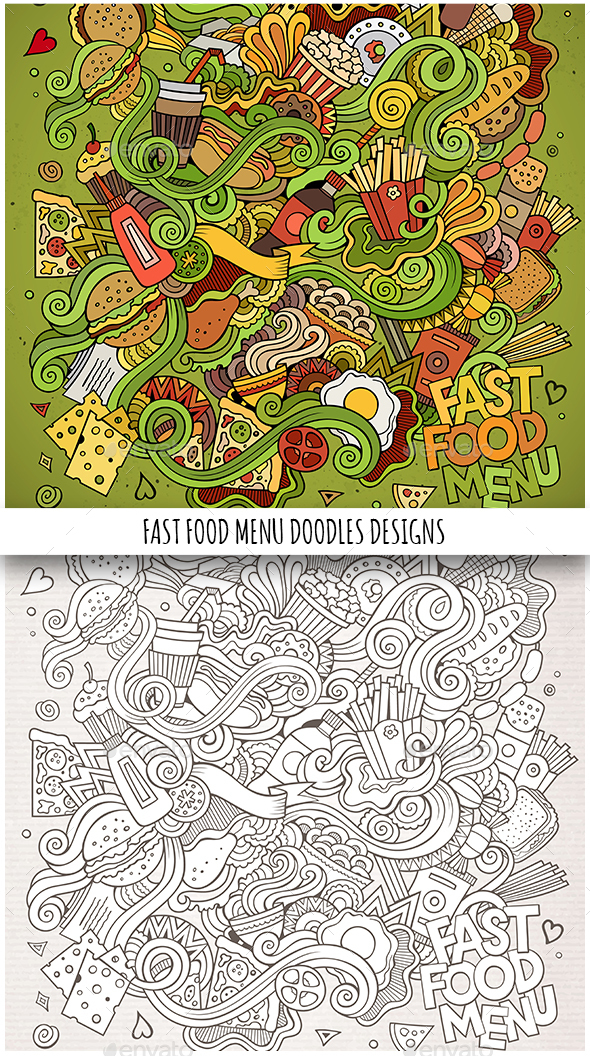 2 Fast Food Doodles Backgrounds - Food Objects