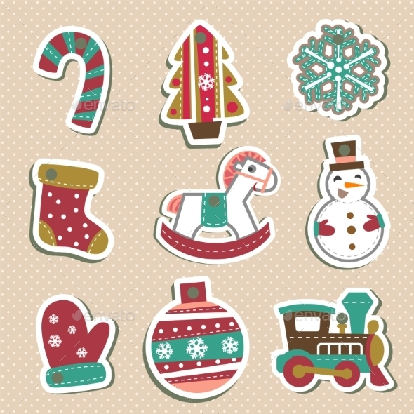 Vector Christmas Tags Or Stickers For Gifts.  - Christmas Seasons/Holidays