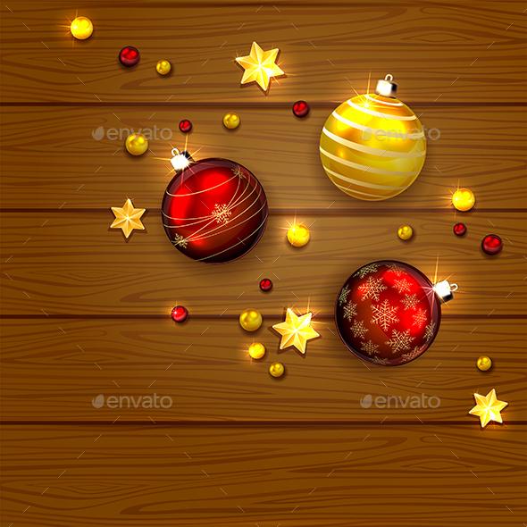 Christmas Balls and Stars on Wooden Background - Christmas Seasons/Holidays