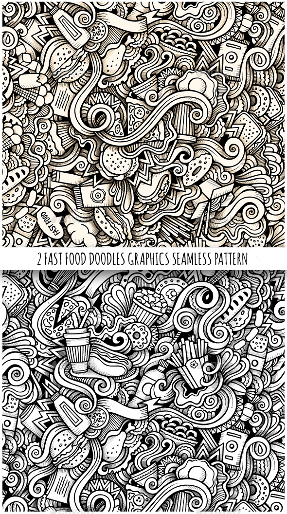 2 Fastfood Doodles Graphics Seamless Patterns - Food Objects