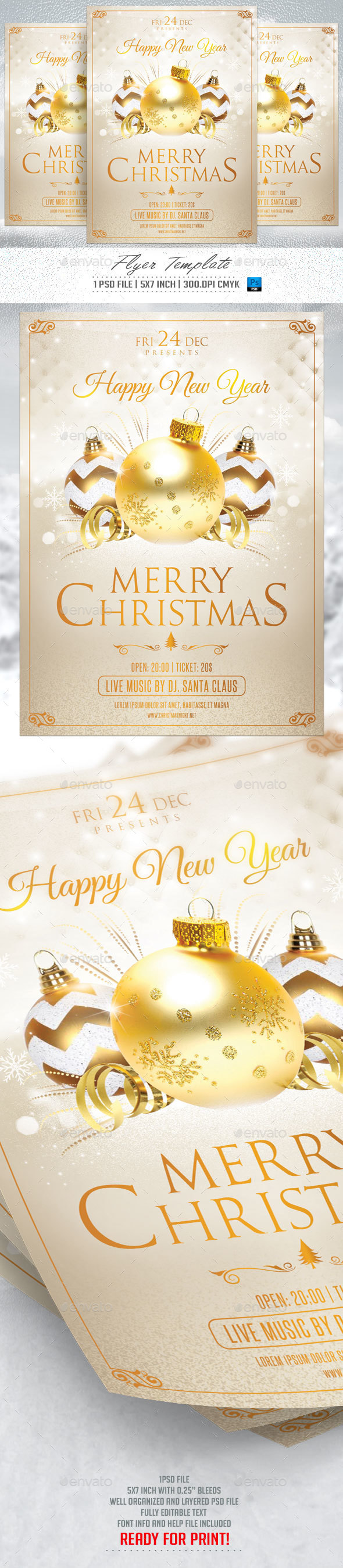 Merry Christmas Flyer Template v.3 - Flyers Print Templates