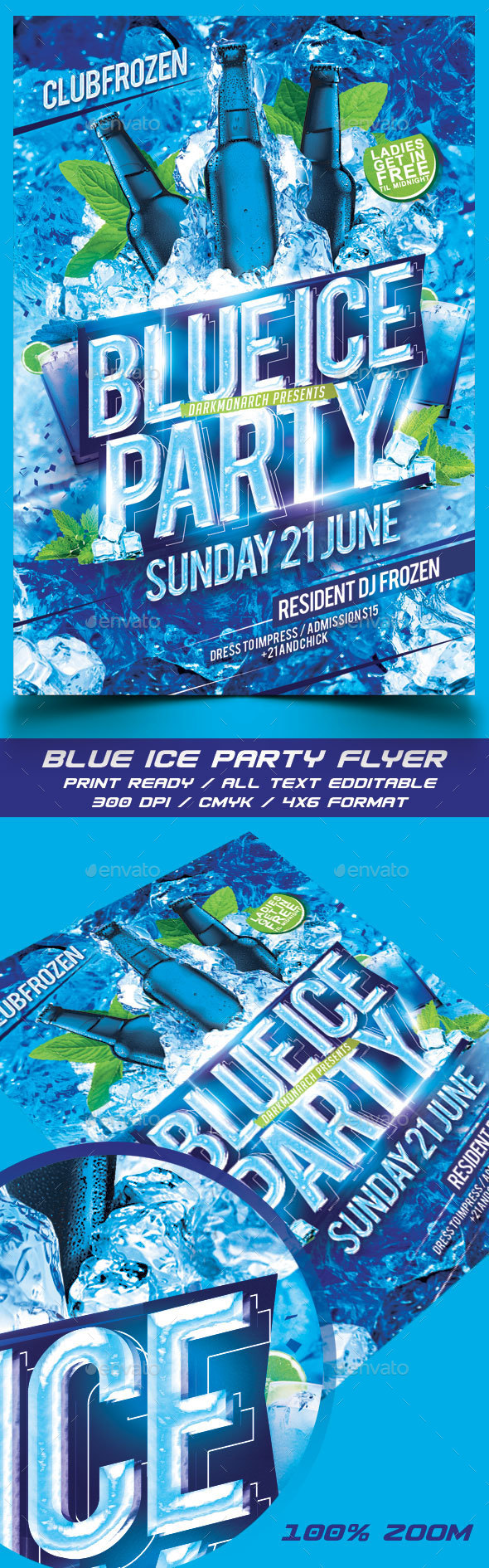 Blue Ice Party Flyer - Events Flyers