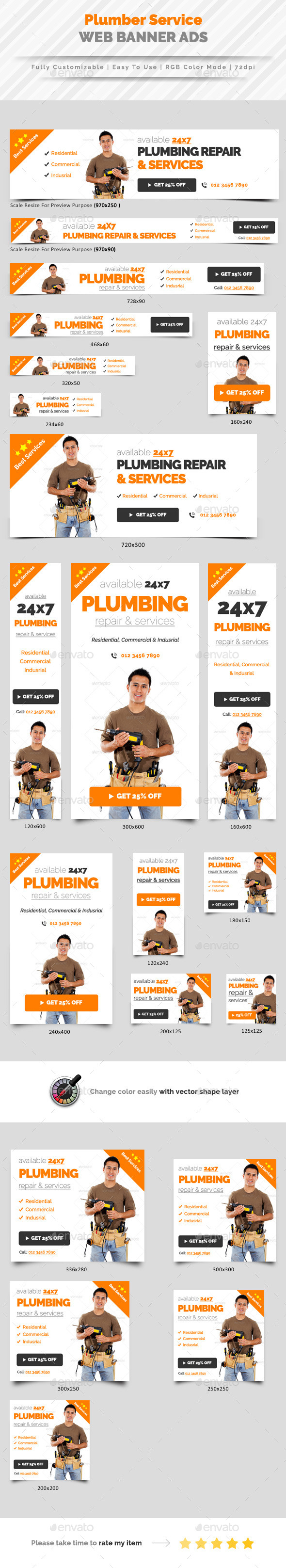 Plumbing Service Web Banner Ads - Banners & Ads Web Elements
