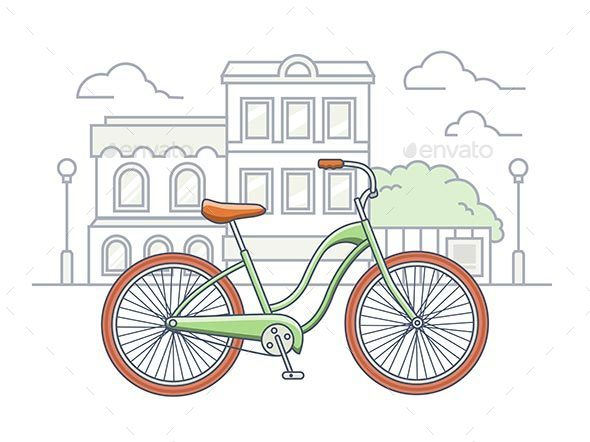 Bicycle On The Street Illustration - Buildings Objects