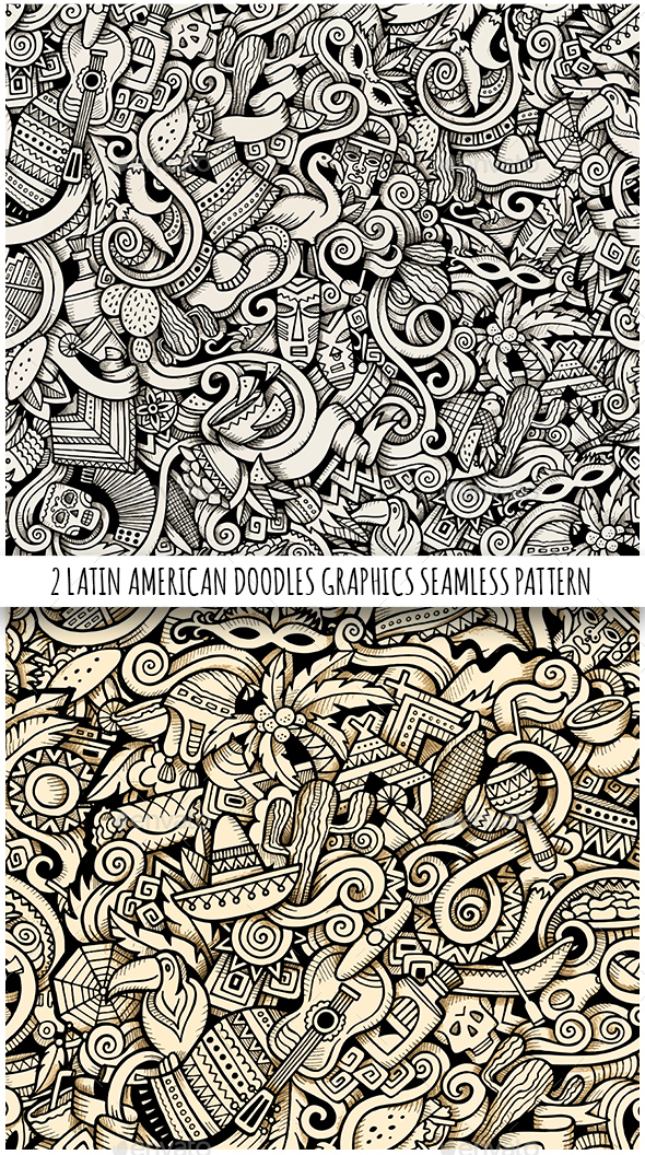 2 Latin America Doodles Graphics Seamless Patterns - Travel Conceptual