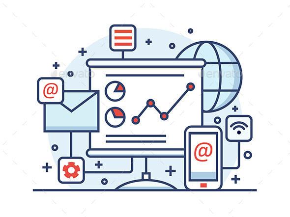 Internet Marketing Line Style - Web Technology