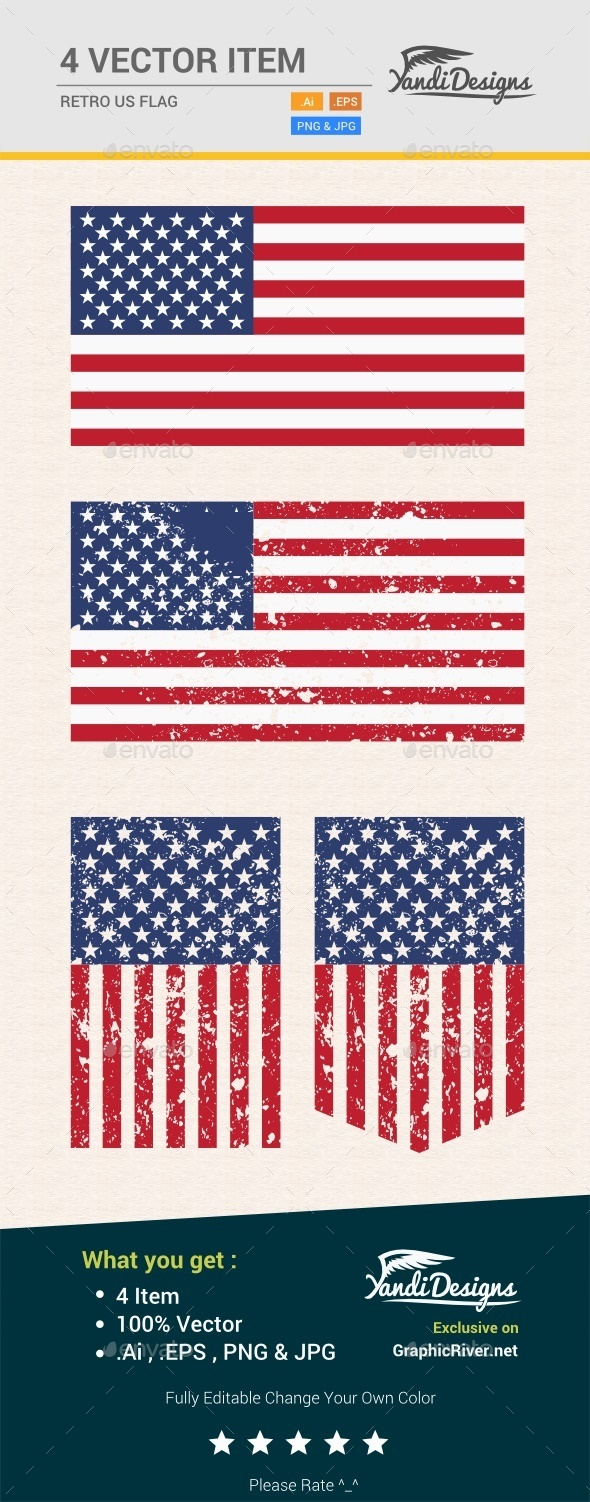 Retro US Flag - Man-made Objects Objects