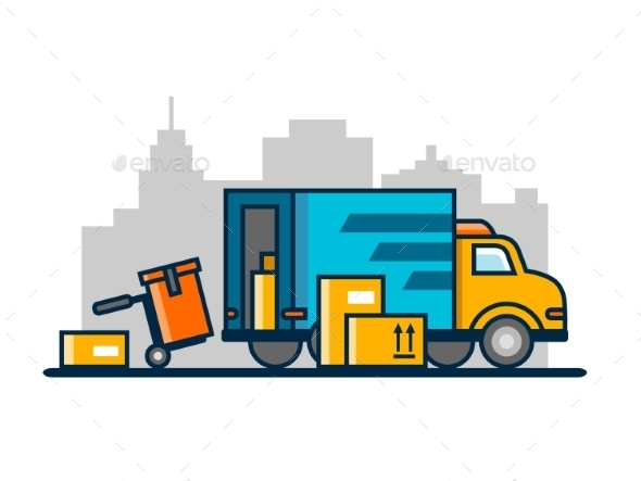 Unloading Loading Truck - Backgrounds Decorative