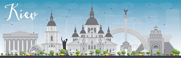 Kiev Skyline with Grey Landmarks and Blue Sky - Buildings Objects
