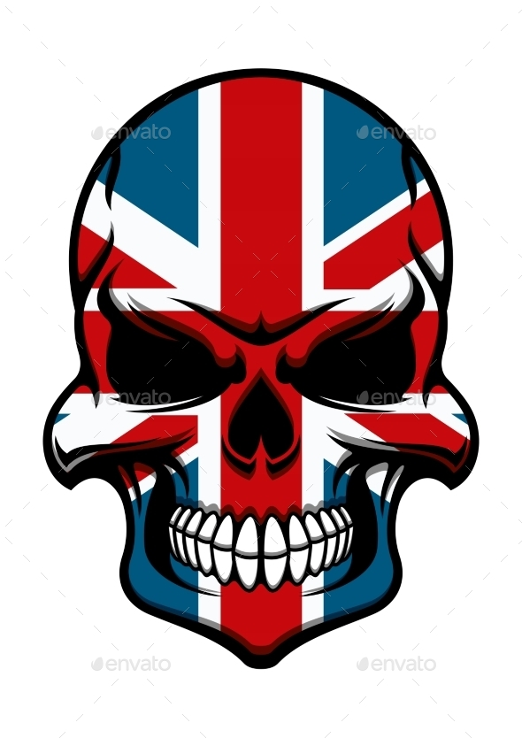 Skull Tattoo With United Kingdom Flag Pattern - Monsters Characters